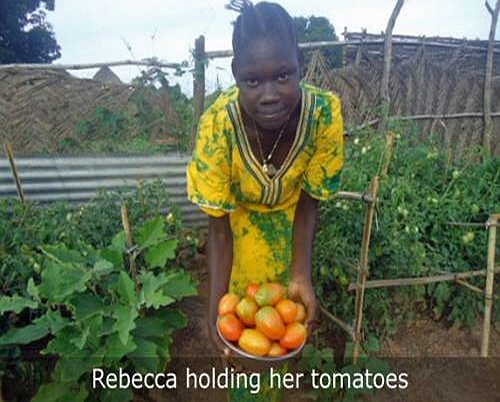 Rebecca with her tomatoes