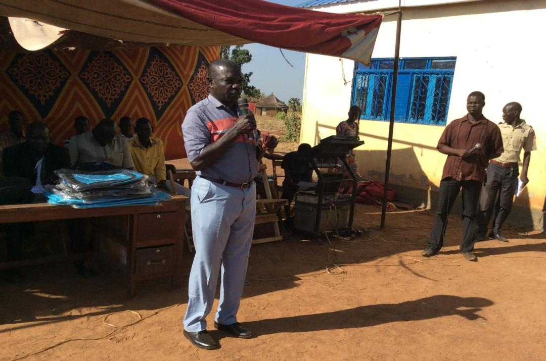 Simon Ndogo Director for Planning (Wau State ministry of education gave speech) during function